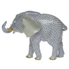 Herend Porcelain Fishnet Figurine of a Large Elephant
